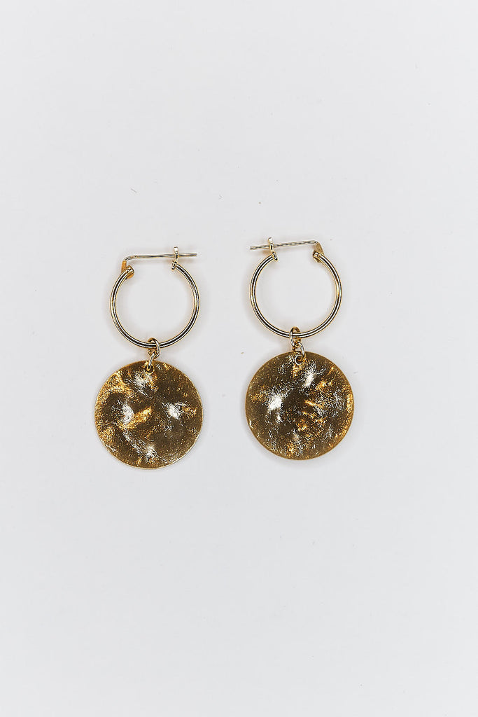 Concave Hammered Disc Earrings