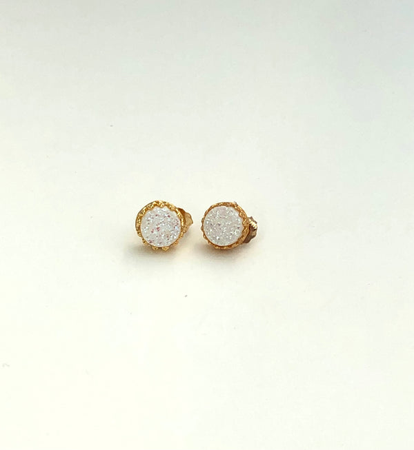 White Druzy Stud Earrings WJ15