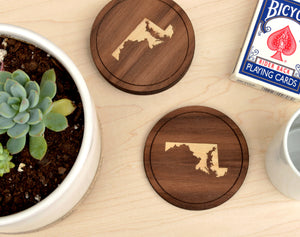 Pick Your State Round Wood Coasters