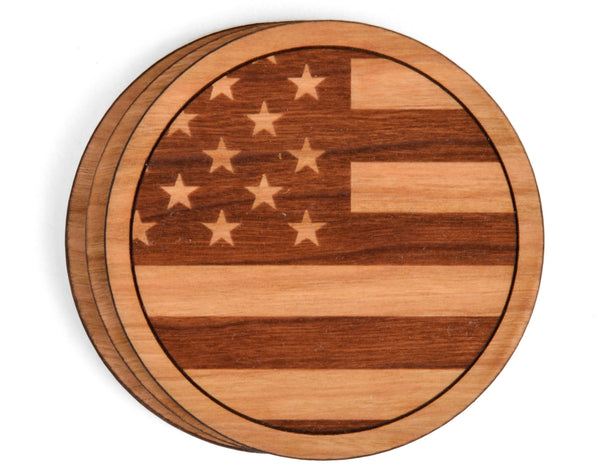 American Flag Round Wood Coasters