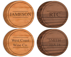 Round Engraveable Wood Coasters