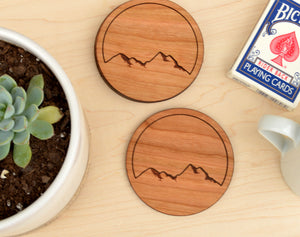 Mountain Round Wood Coasters