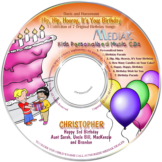 Hip, Hip, Hooray, It's Your Birthday Personalized Music CD - The Lollipop Guild
