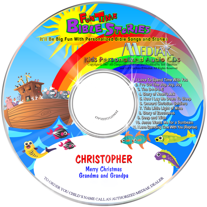 Fun Time Bible Stories Personalized Music CD - The Lollipop Guild
