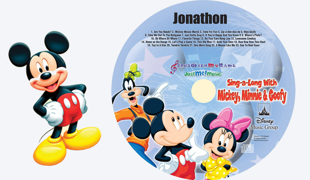 Mickey, Minnie and Goofy™ Personalized Music CD and Digital Download - The Lollipop Guild