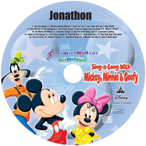 Personalized Disney Mickey, Minnie and Goofy Music CD