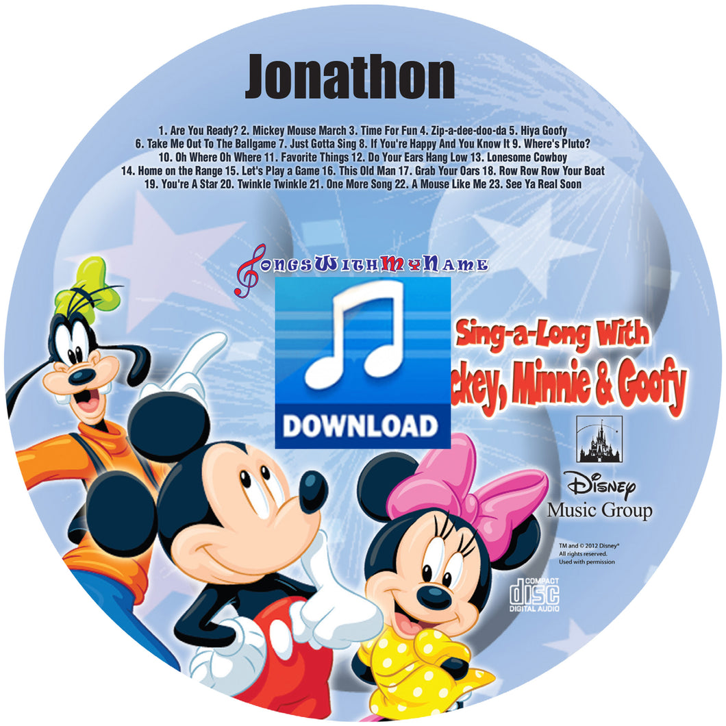 Digital Mickey, Minnie and Goofy™ Personalized Music Download