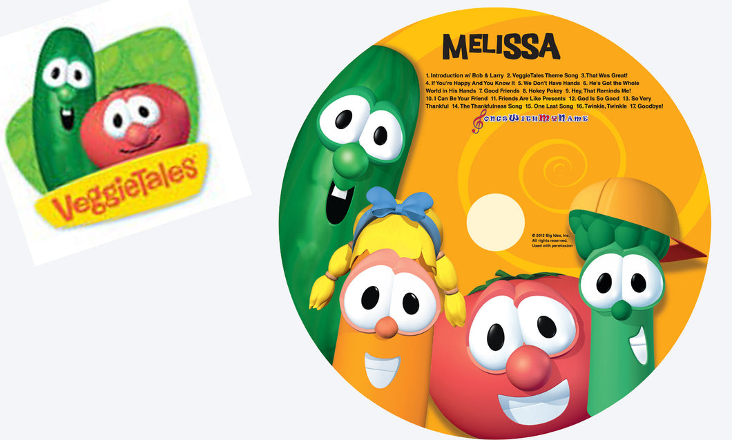 Personalized Veggie Tales Music CD and digital download