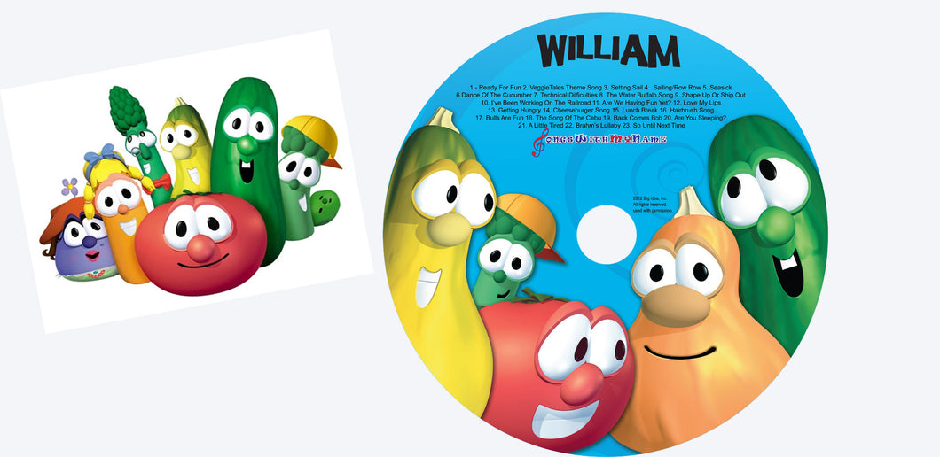 Veggie Tales personalized Silly songs cd and digital download