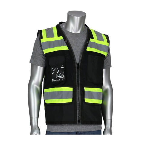 ANSI Class O1 11-Pocket Safety Vest-Black