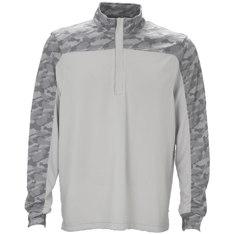 Vansport Men's Camo Block Quarter-Zip - White/Grey Camo
