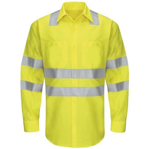 Red Kap Type R Class 3 Long-Sleeve Ripstop Workshirt-Safety Yellow