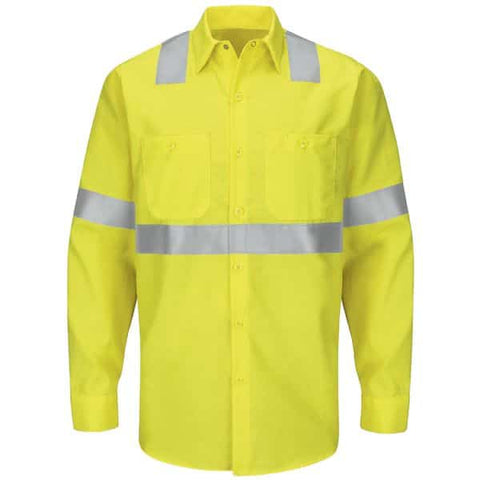 Red Kap Type R Class 2 Long-Sleeve Ripstop Workshirt-Safety Yellow