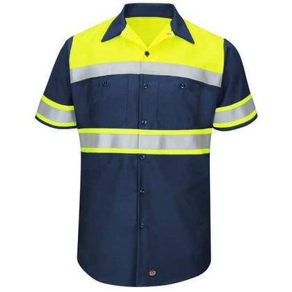 Red Kap Hi-Vis Ripstop Short-Sleeve Workshirt-Navy
