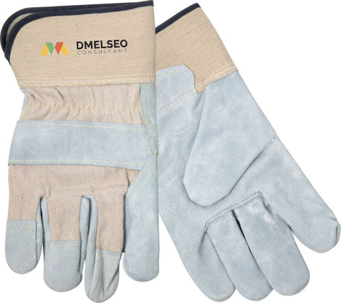 Split Leather Glove with Safety Cuffs - White