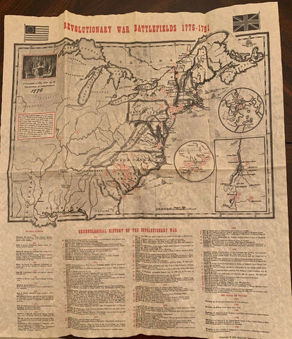 "Revolutionary War Battlefield Map 1775-1781 Replica 13.5""x16"""