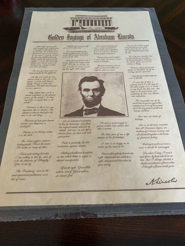 Golden Sayings of Abraham Lincoln - Parchment Poster
