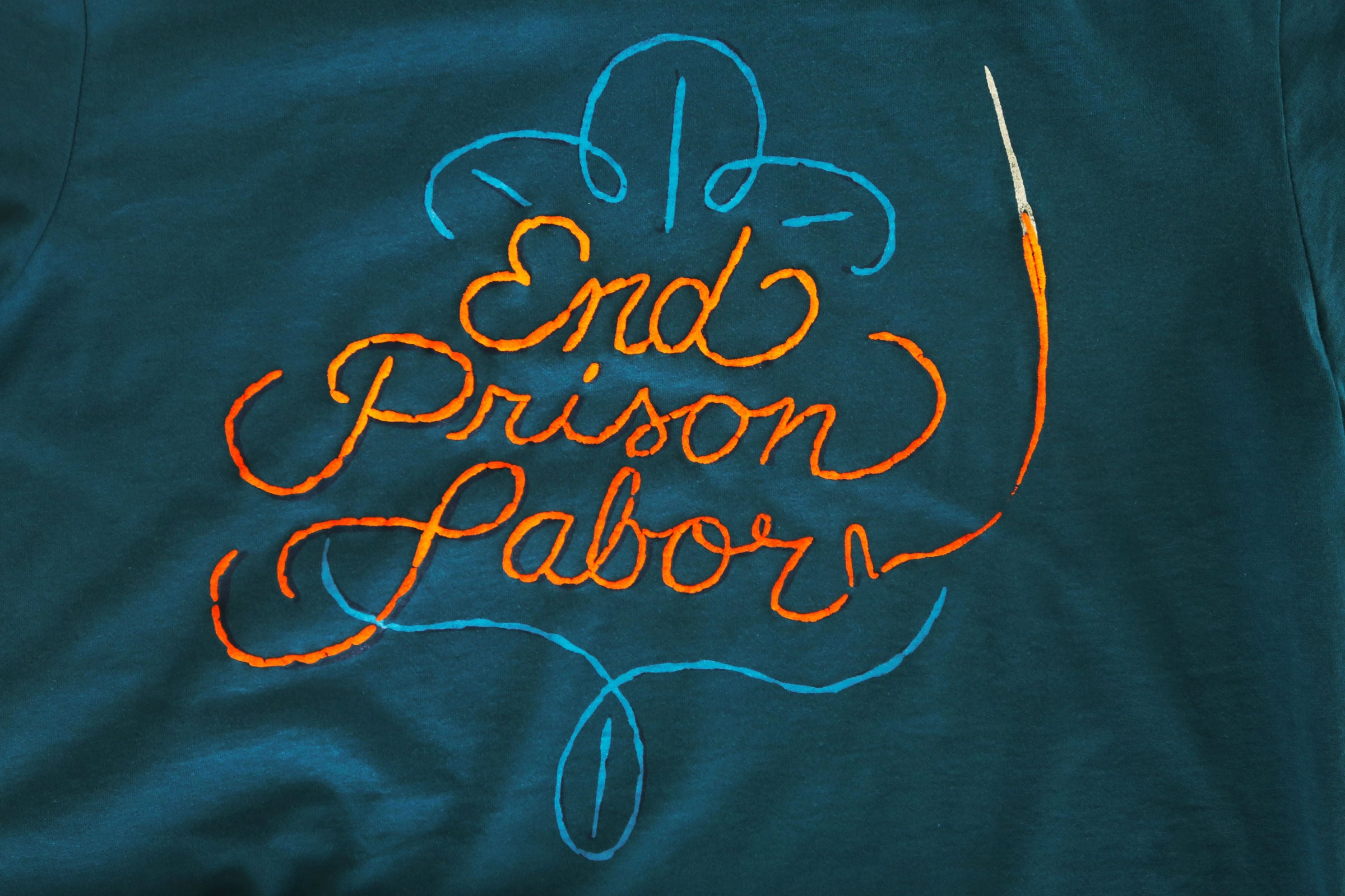 End Prison Labor Stitch Shirt in Deep Teal - Trunk Series, LLC
