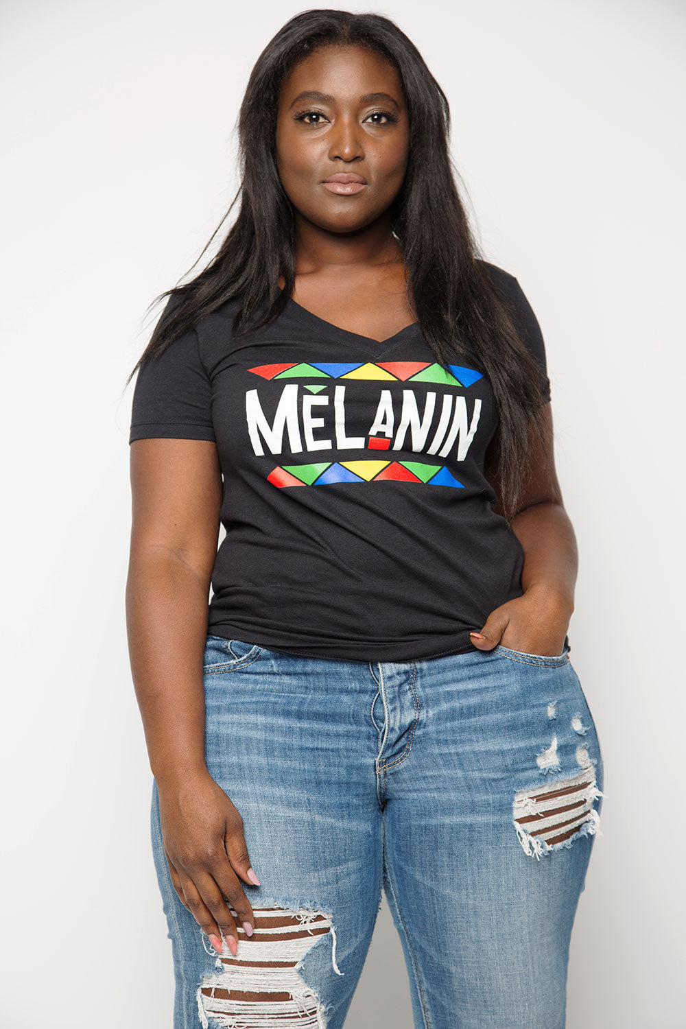 Melanin V-Neck Tee in Black - Trunk Series, LLC
