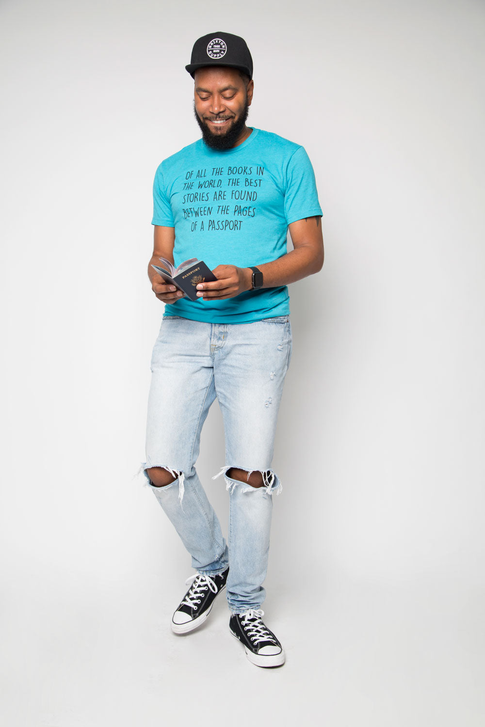 Passport Shirt in Bondi Blue - Trunk Series, LLC