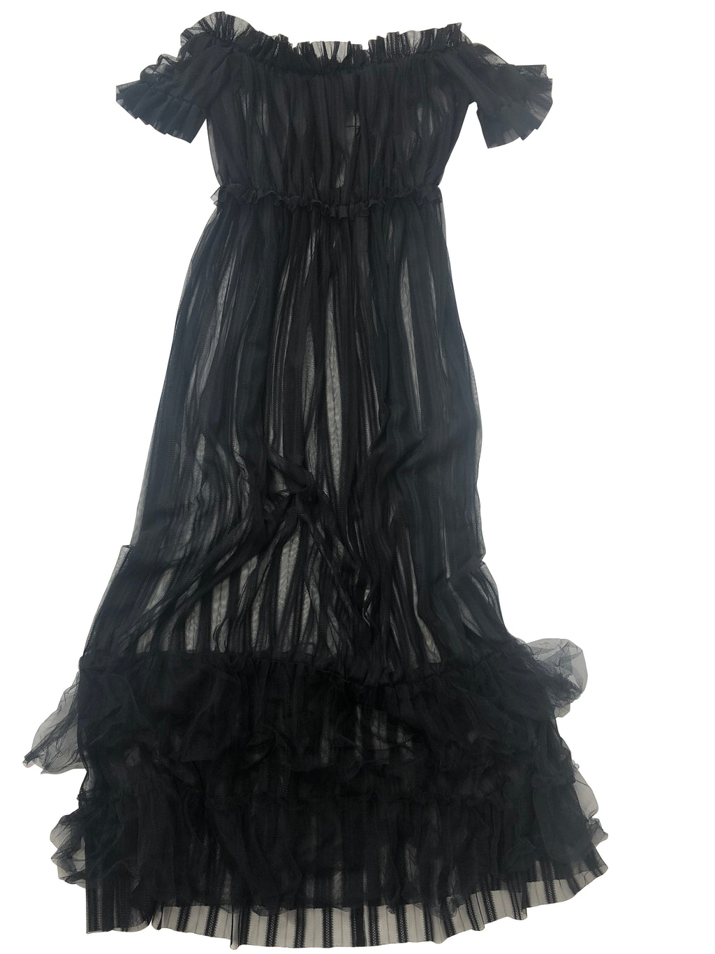 Sheer Off Shoulder Ruffle Dress