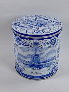 Front windmill delft blue gift tin - Big Bite Dutch Treats