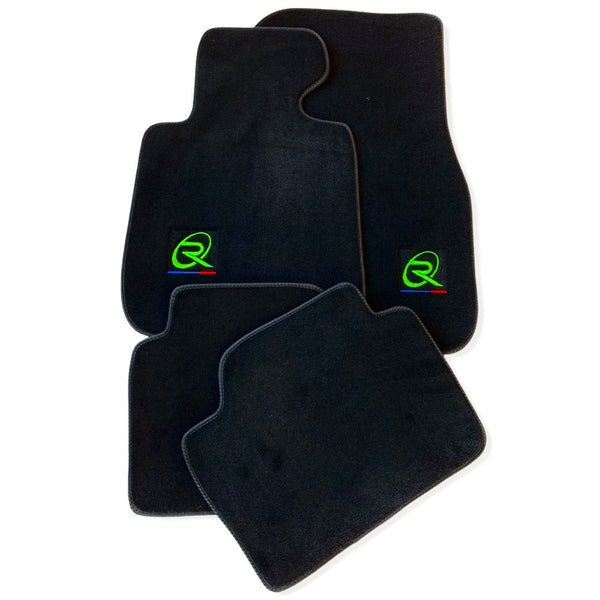Black Floor Mats For BMW M4 Series F82 ROVBUT Brand Tailored Set Perfect Fit Green SNIP Collection