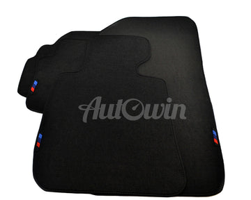 Black Floor Mats For BMW X5 Series G05 With 3 Color Stripes Tailored Set Perfect Fit
