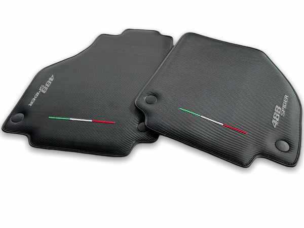 Floor Mats For Ferrari 488 Spider 2016-2019 Carbon Fiber AutoWin Brand Italian Edition