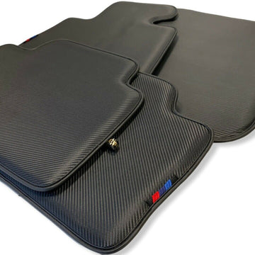 Floor Mats For BMW X6 Series G06 Black AutoWin Brand Carbon Fiber Leather