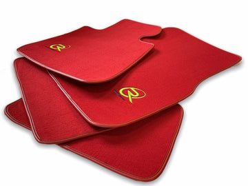 Red Floor Mats For BMW X1 Series F48 ROVBUT Brand Tailored Set Perfect Fit Green SNIP Collection