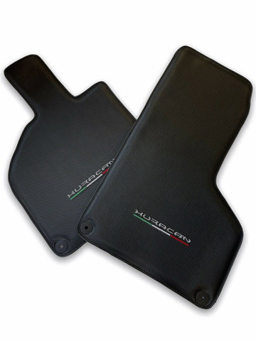 Floor Mats for Lamborghini Huracan Carbon Leather With Huracan Logo