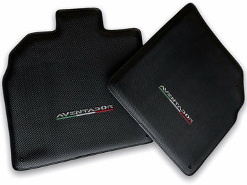 Floor Mats for Lamborghini Aventador Carbon Fiber Leather Limited Edition