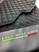Floor Mats for Lamborghini Huracan Leather With Italian Flag and Huracan Logo