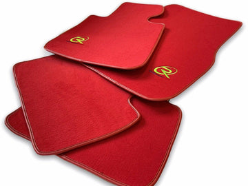 Red Floor Mats For BMW 7 Series G11 ROVBUT Brand Tailored Set Perfect Fit Green SNIP Collection