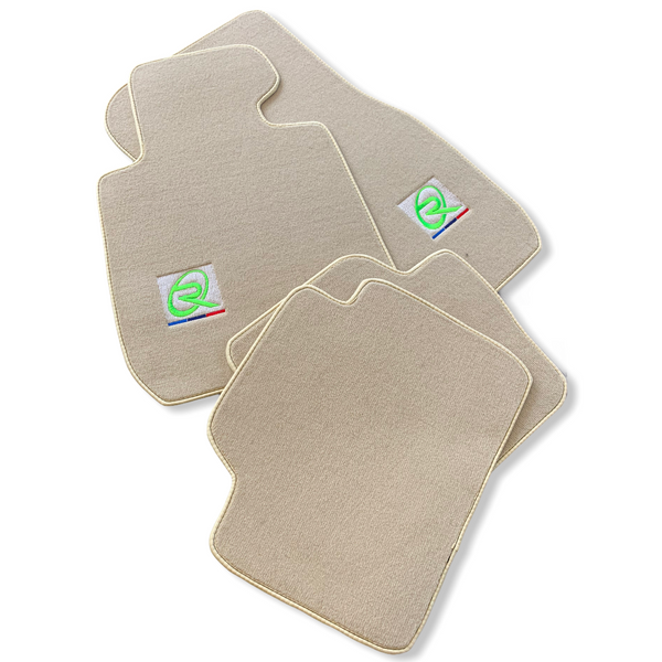 Beige Floor Mats For BMW M5 Series F90 ROVBUT Brand Tailored Set Perfect Fit Green SNIP Collection