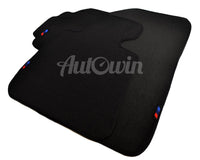 Black Floor Mats For BMW 7 Series G11 With 3 Color Stripes Tailored Set Perfect Fit