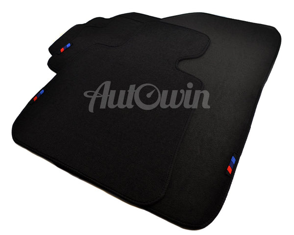 Black Floor Mats For BMW 7 Series F02 Long With 3 Color Stripes Tailored Set Perfect Fit