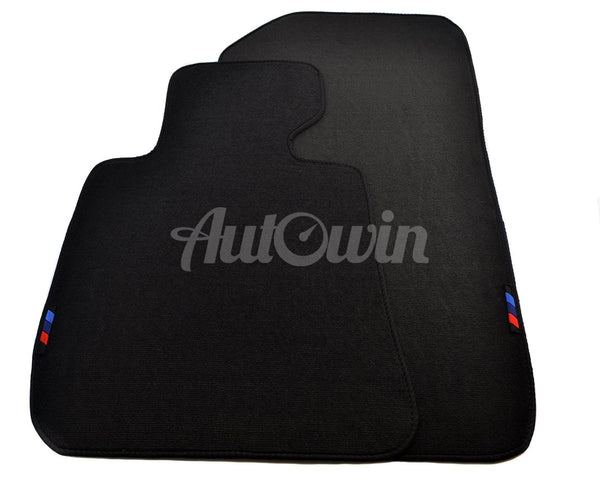 Black Floor Mats For BMW 1 Series E87 With 3 Color Stripes Tailored Set Perfect Fit