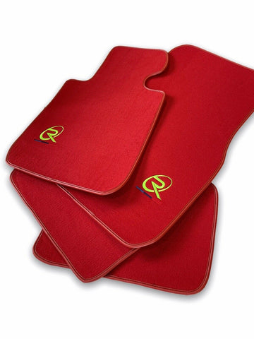 Red Floor Mats For BMW 7 Series E65 ROVBUT Brand Tailored Set Perfect Fit Green SNIP Collection