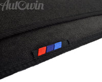 Black Floor Mats For BMW 7 Series E65 With 3 Color Stripes Tailored Set Perfect Fit