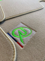 Beige Floor Mats For BMW 1 Series E87 ROVBUT Brand Tailored Set Perfect Fit Green SNIP Collection