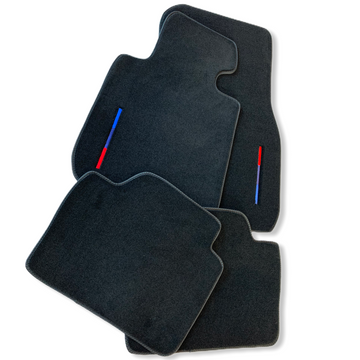 Black Floor Mats For BMW 7 Series G12 Long With Color Stripes Tailored Set Perfect Fit