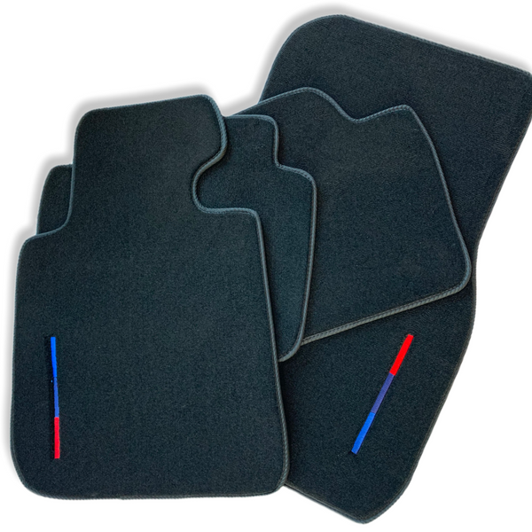 Black Floor Mats For BMW M3 Series F80 With Color Stripes Tailored Set Perfect Fit