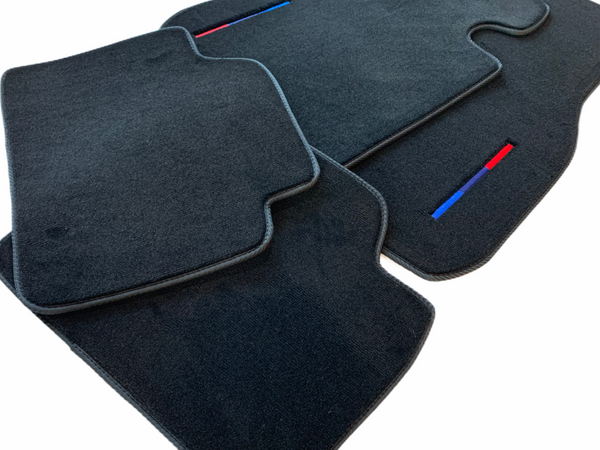 Black Floor Mats For BMW 5 Series F07 GT With  Color Stripes Tailored Set Perfect Fit