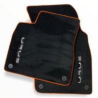 Floor Mats For Lamborghini Urus Black Tailored With Orange Rounds Carpets