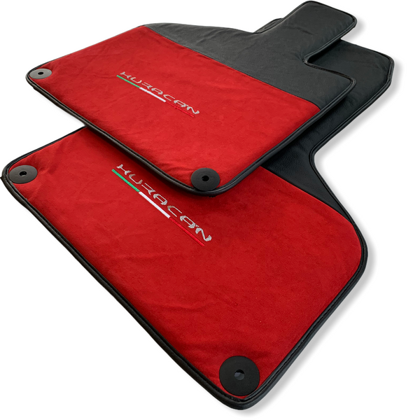 Floor Mats for Lamborghini Huracan Alcantara Red Leather With Huracan Logo