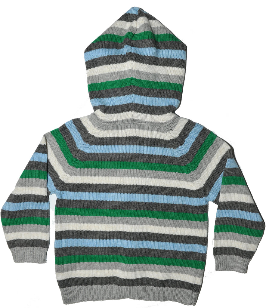 Striped jumper with hood