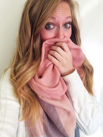pink and grey blanket scarf