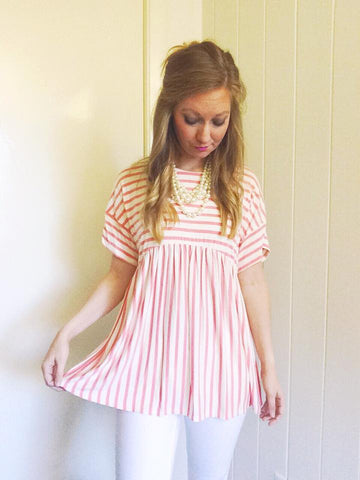 strawberry stripes forever - babydoll top